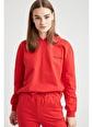 Defacto –Fit Yazı Baskılı Kapüşonlu Sweatshirt Kırmızı